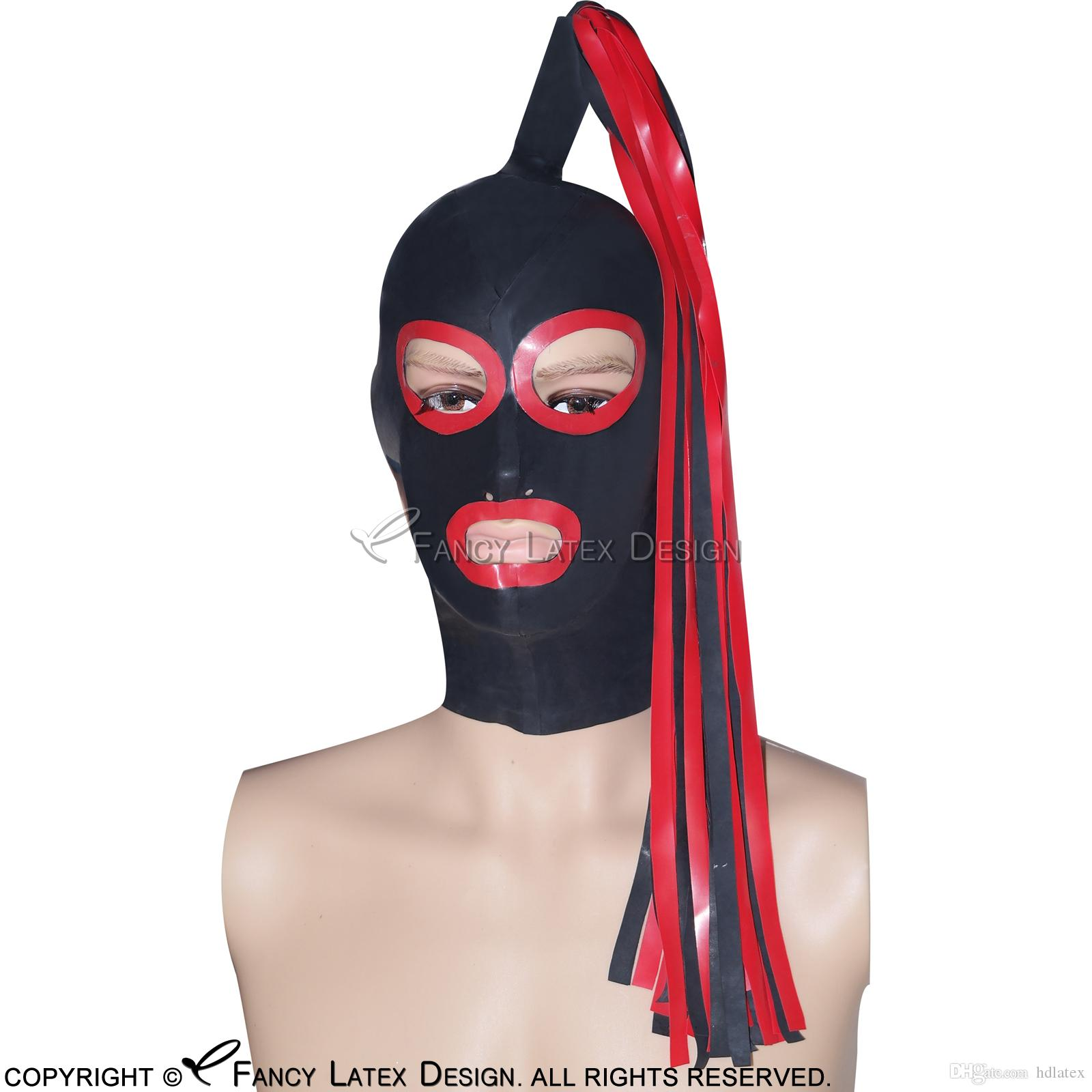 Black With Red Sexy Latex Hoods Ponytail Wig Hairs Zipper At Back Open Eyes Mouth Nose Pony Tail Rubber Masks TT-0034