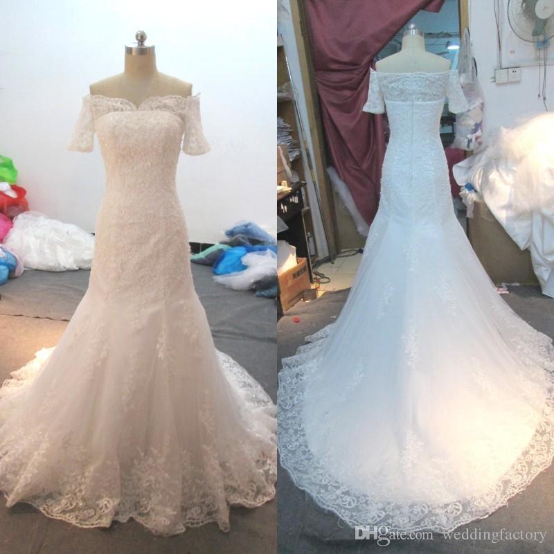 Klassisk av axeln Mermaid Bröllopsklänningar Illusion Kortärmad Pärlor Sequins Lace Appliques Brudklänningar med Sweep Train Custom