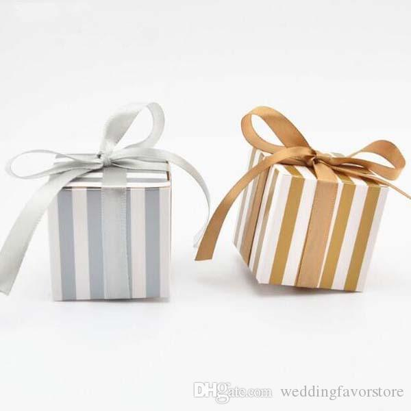 50pcs/lot 5.5*5.5*5.5cm gold silver Striped party favor box Baby Shower Gifts Chocolate Box Giveaways candy Box with ribbon