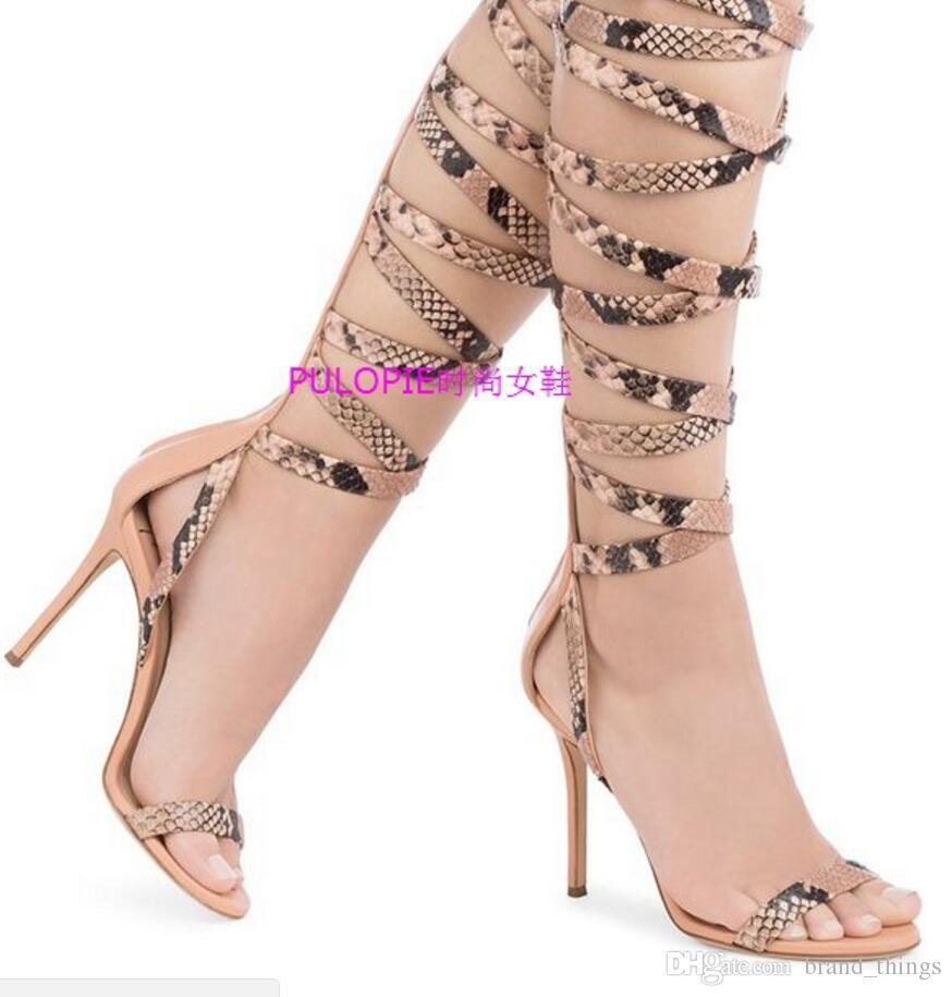 2018 neue Sommer Sandalen Ausschnitte Gladiator Sandalen dünne Ferse mujer Botas Schnürschuhe Booties Schlangenhaut drucken Party Schuhe Schnürung High Heel