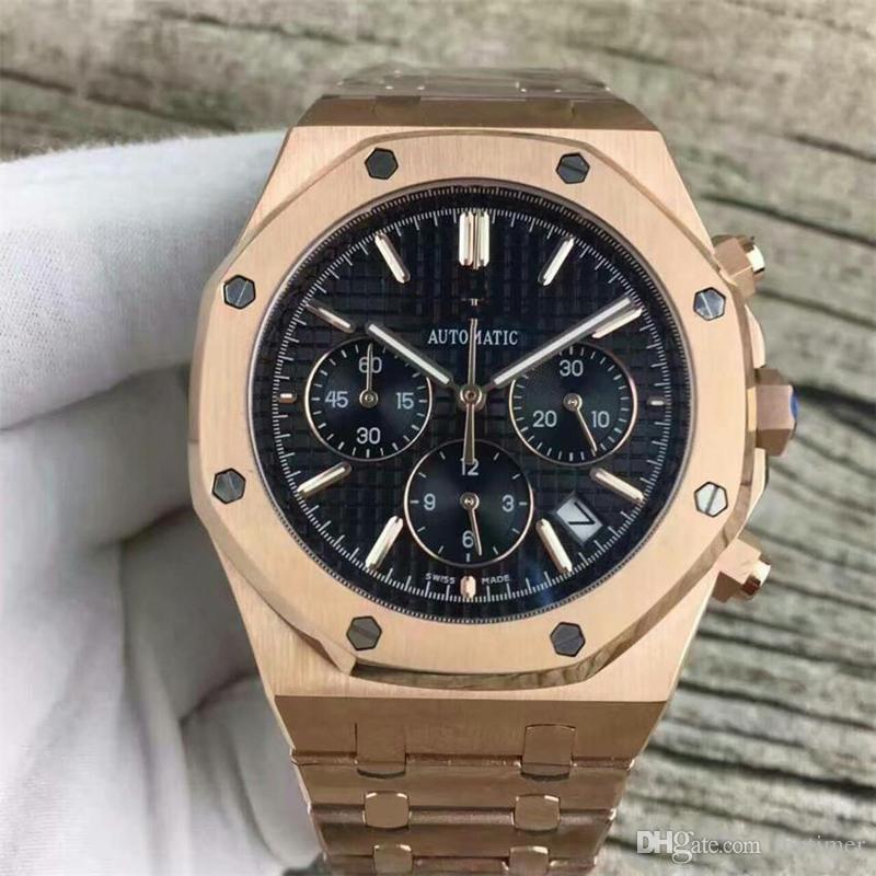 Yüksek Kaliteli Gül Altın Erkekler Kuvars Erkek Paslanmaz Çelik Chronograph Kronometre Saatler Reloj Montre Business Saatı