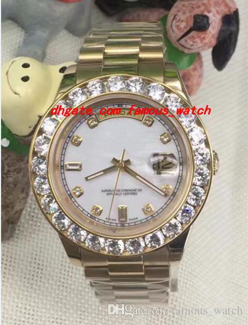 럭셔리 시계 2017 새로운 2 II 솔리드 18캐럿 옐로우 골드 41mm로 큰 다이아몬드 시계 세라믹 베젤 기계 남성 시계 최고 품질