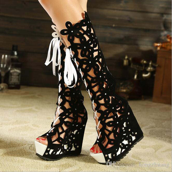 new lower prices first look wholesale outlet New Women Hollow Knee High Gladiator Bandage Boots Sexy Cutout Open Toe  Boots Platform Wedges Sandals Boots Women'S High Heels Pumps Shoes Wedding  ...
