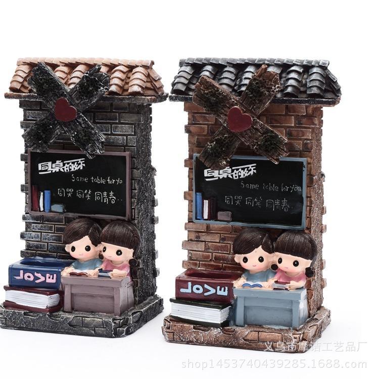 artesanato Rotary caixa de música caneta moinho resina criativo atacado ornamentos banco piggy estudante presente