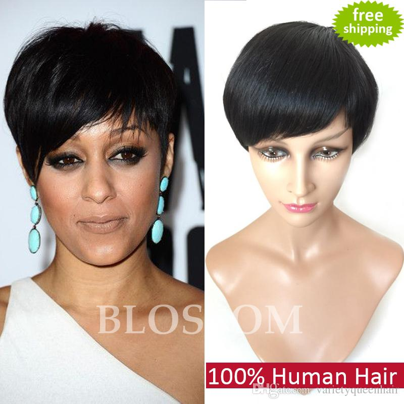 Yüksek Kaliteli Makine Yapımı Kısa İnsan Kesim Saç Peruk Siyah Kadınlar Için Hiçbiri Tutkalsız Tam Dantel İnsan Brezilyalı En Iyi Saç Peruk