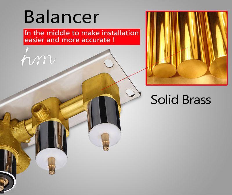 Bathroom Shower Valve Large Water Flow Solid Shower Accessories 5 ways Chrome Brass Panel Diverter Faucet Tap Shower Controller (15)