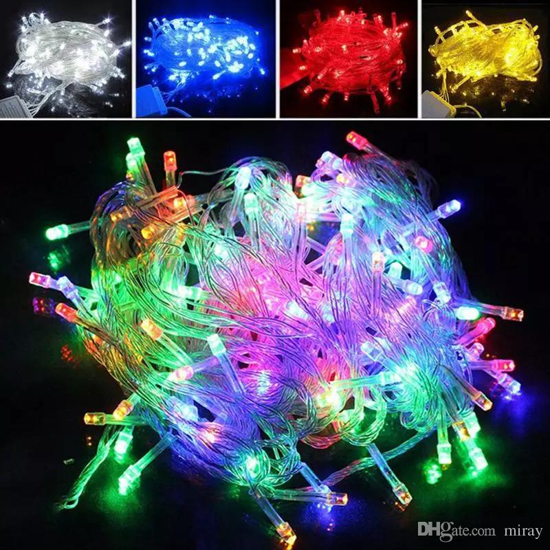 Lumière de Noël 10m 20m 9 couleurs LED imperméable LED String String Light 100led Mariage Festival Festival Twinkle Twinkle Decoration Lampe US EU