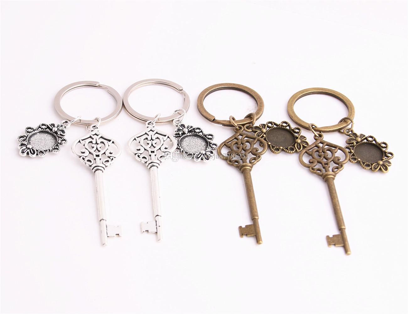 SWEET BELL 3pcs/lot Metal Alloy Zinc Key Chain Fit Round 12.5mm Cabochon Base Key Charm Pendant Diy Jewelry Making C0894
