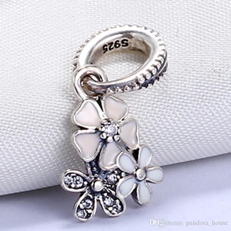 Gros Real 925 Sterling Silver Non Plaqué Trois Fleurs Effacer CZ Pendentif Charme Européen Charme Perle Fit Pandora Chaîne Bracelet DIY Bijoux