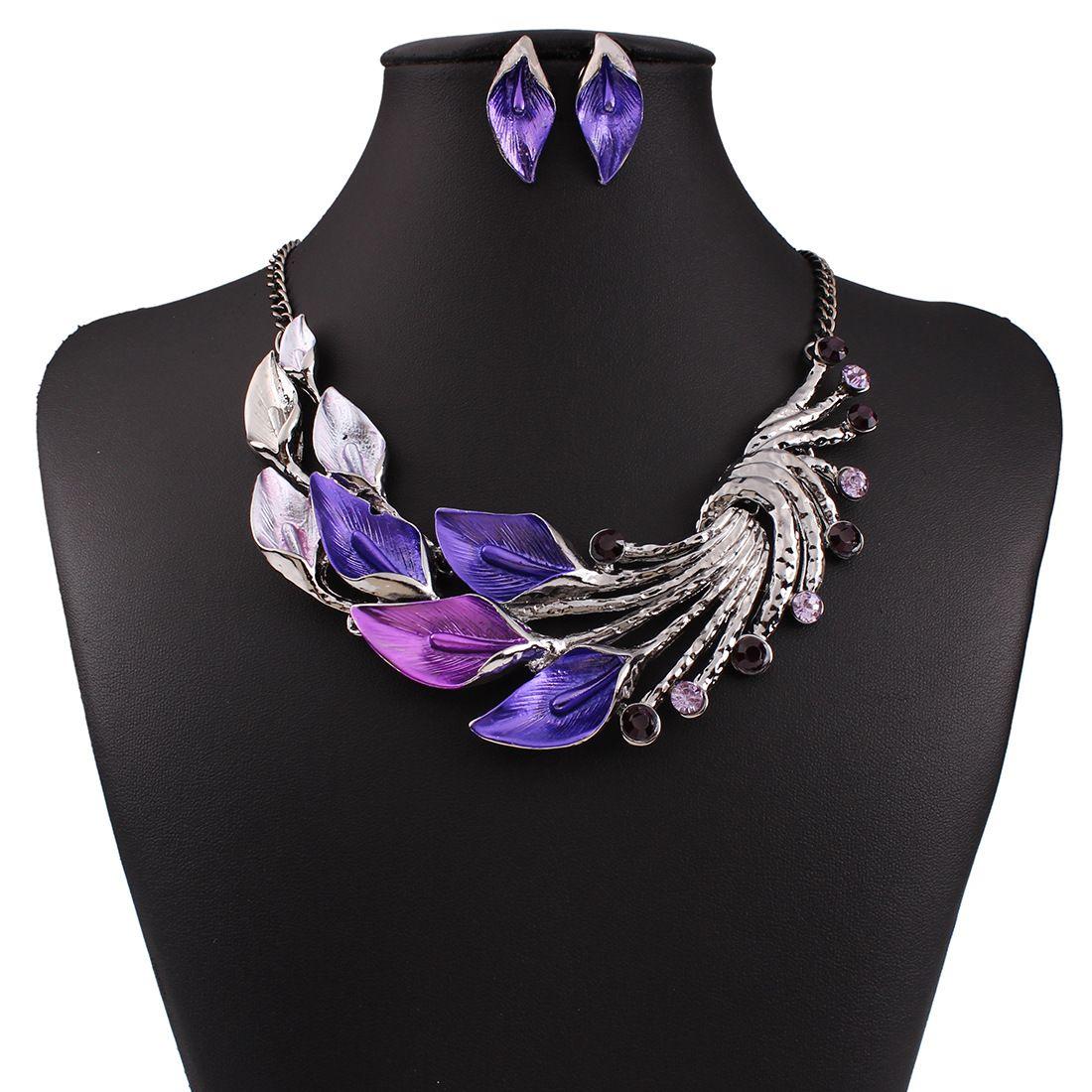 Las nuevas mujeres de cristal austriaco joyería fija el esmalte 4 colores de la flor joyería fija Cadena conjuntos de collar aretes