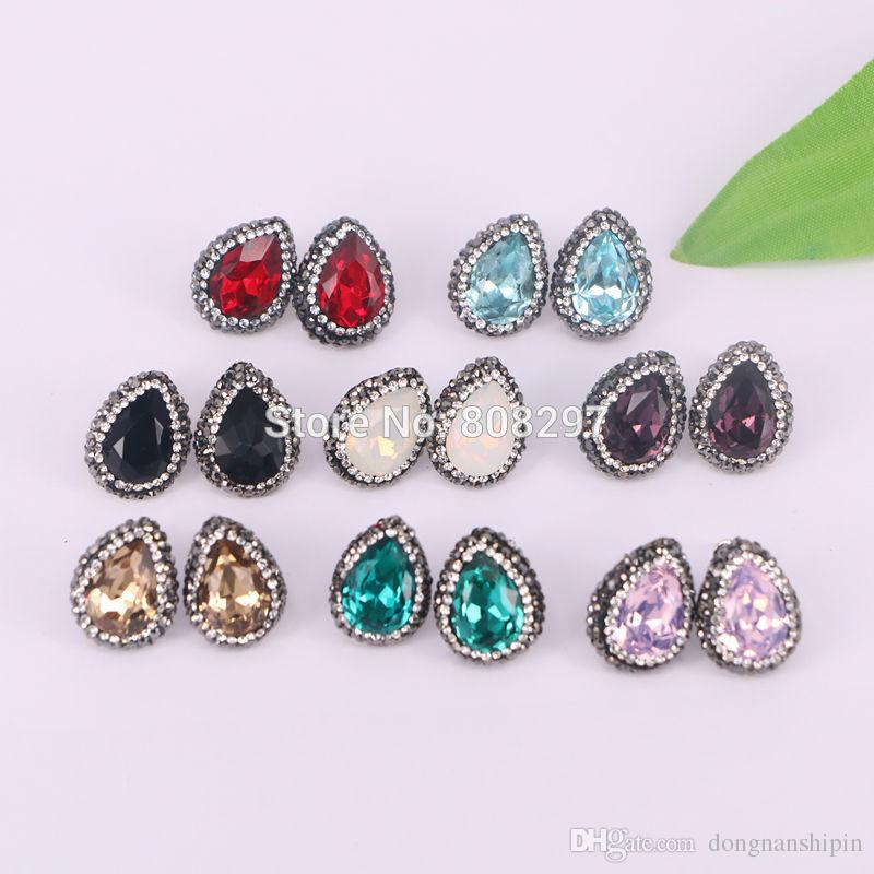 Charm 8Pair Mixed Color Pave Rhinestone Zircon Water Drop Shape Crystal Stud Earrings Jewelry Finding