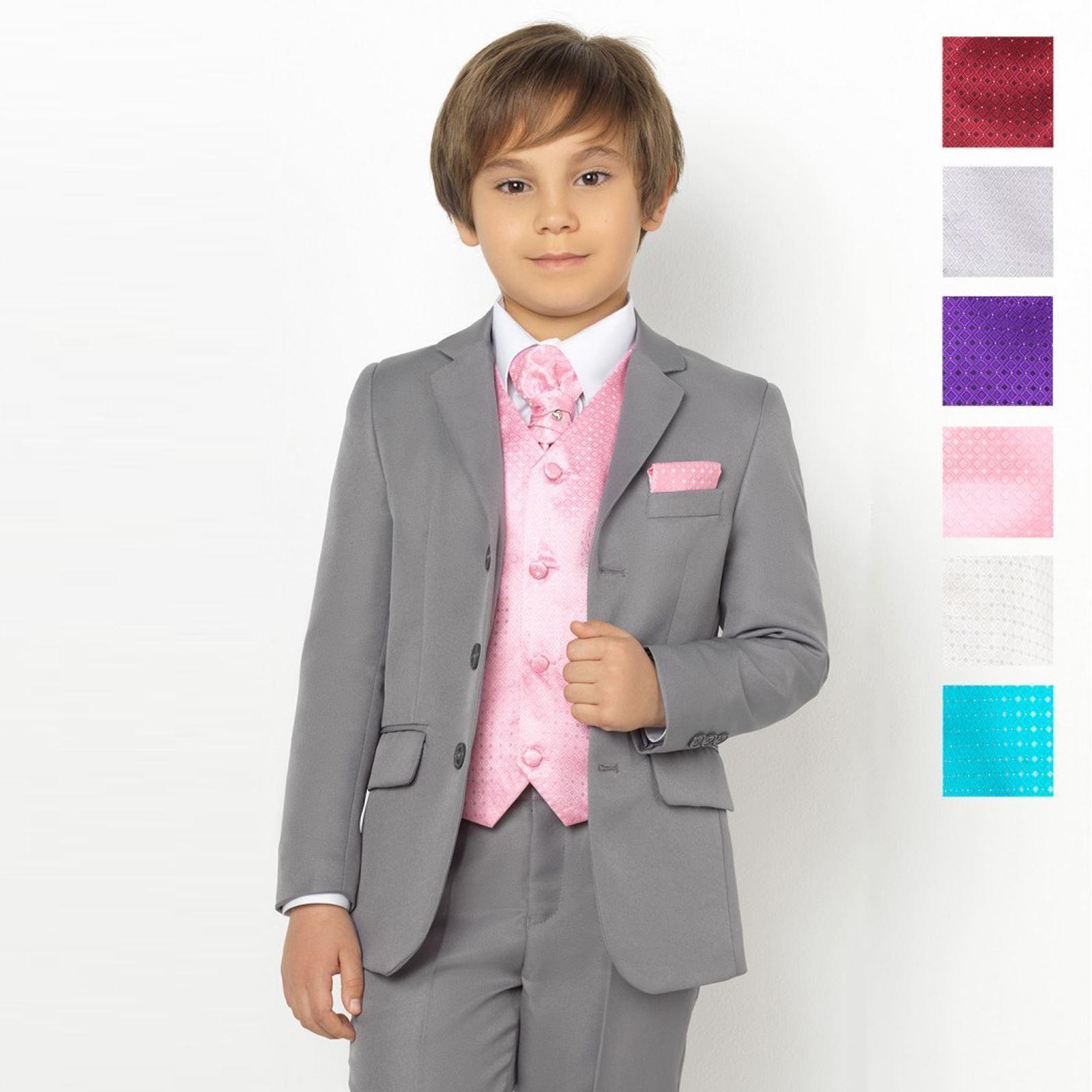 Boys Grey Suit, Page Boy Suits, Boys Prom Suits, Diamond Waistcoat ...