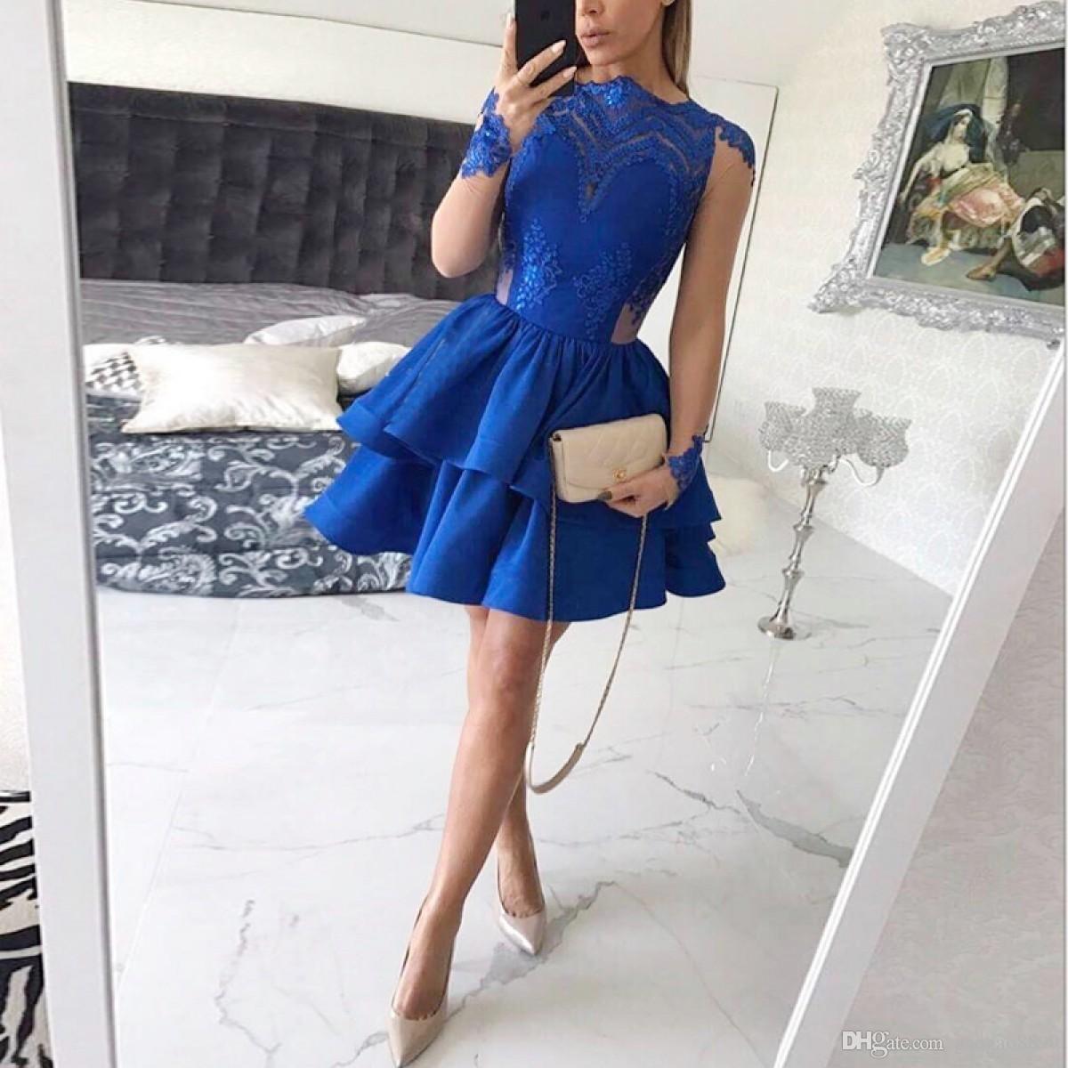 Großhandel Royal Blue Sexy Heimkehr Kleider 2017 A-Line Langarm mit ...