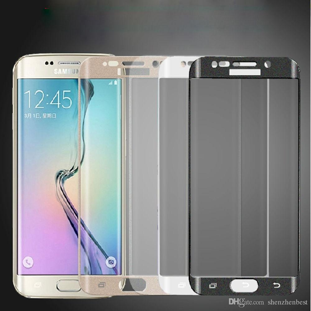 En gros 50pcs / lot 3D Full Cover haute qualité ultra-mince écran en verre réel protecteur pour Trempé Samsung Galaxy S6 bord S7