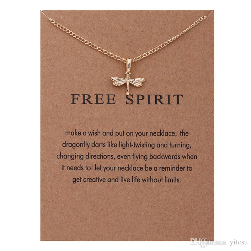 Wholesale Fashion Style Necklaces With Card Gold Circle Elephant Pearl Love  Heart Wings Cross Unicorn Pendant Necklace For Women Choker Jewelry