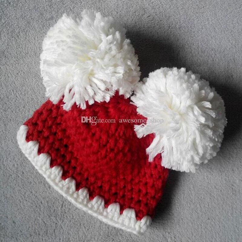 Lovely Pompom Beanie,Handmade Crochet Baby Girl Boy Twins Santa Elf Hat,Infant Christmas Costume,Newborn Toddler Photography Prop