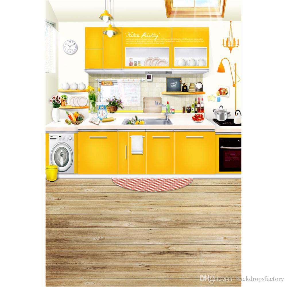 2019 Kitchen Backdrop Wooden Floor Yellow Furniture Background Photography Indoor Baby Newborn Booth Props Kids Children Photo Studio Backdrops From