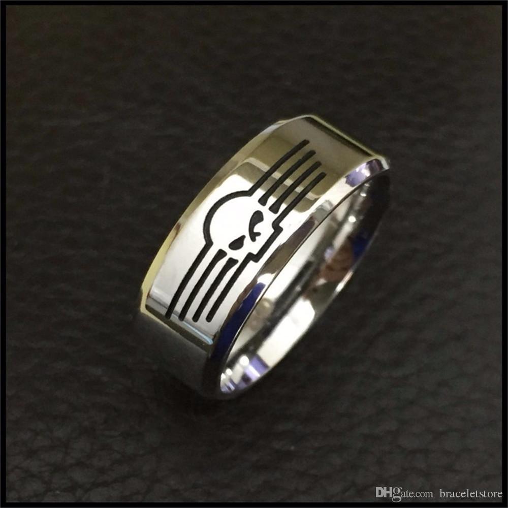 2 unids / lote tamaño 7-14 nuevo anillo de estilo de motorista de pulido 316L joyería de acero inoxidable Unisex Motorbiker anillo del cráneo