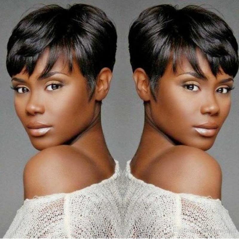vente chaude courte coupe striaght perruque simulation brésilienne cheveux humains courte droite pleine perruque avec frange pour les femmes noires