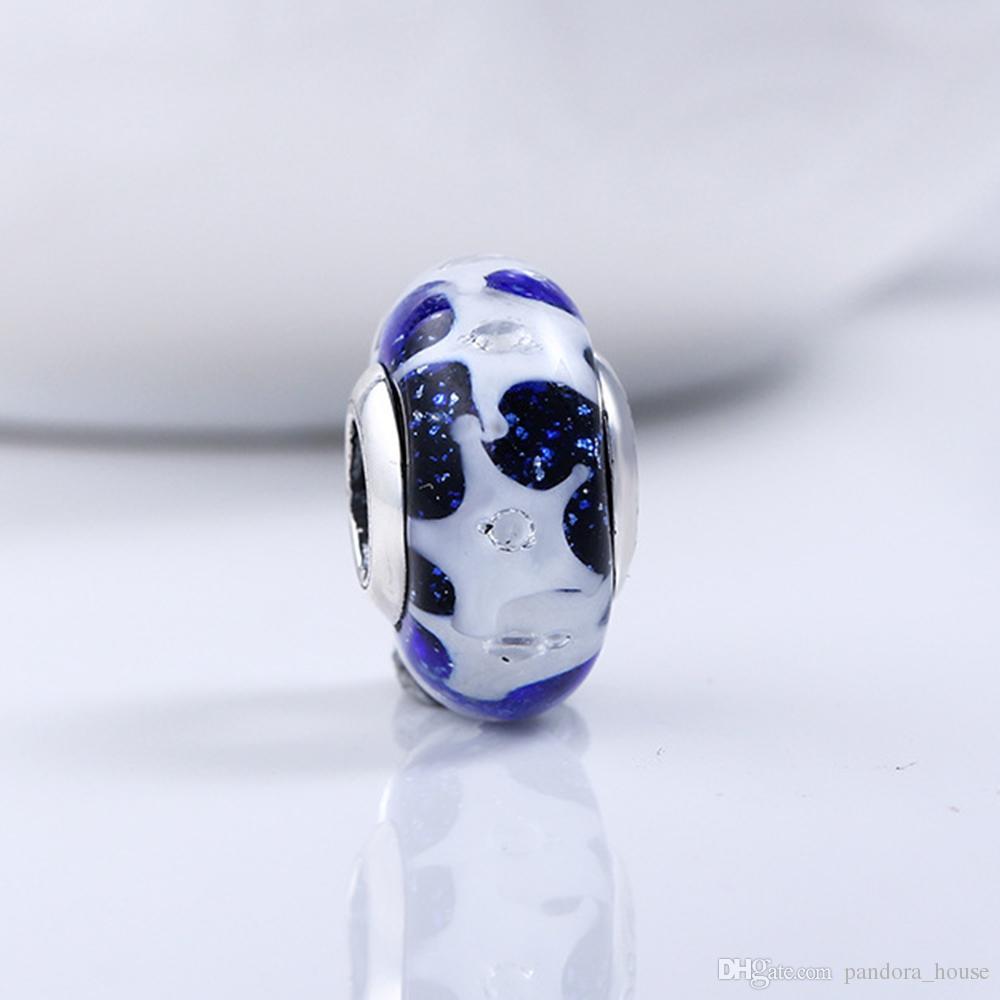 Fit Pandora Véritable Argent Sterling 925 Non Plaqué Étoile Bleue Ciel Perles De Verre De Murano De Charme Européen Perle Serpent Chaîne Bracelet DIY Bijoux