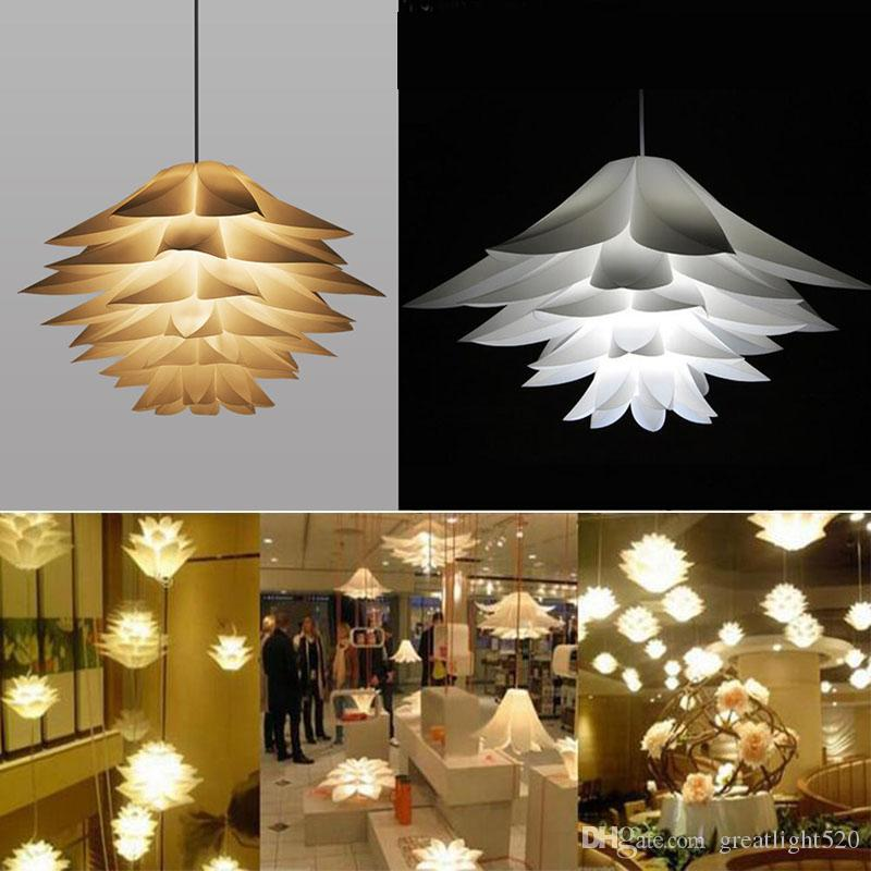 Acheter Diy Lotus Chandelier Qi Puzzle Pendant Light Decor Ceiling Light Art Abat Couleur Blanc Home Decor Lampe De 18 38 Du Greatlight520