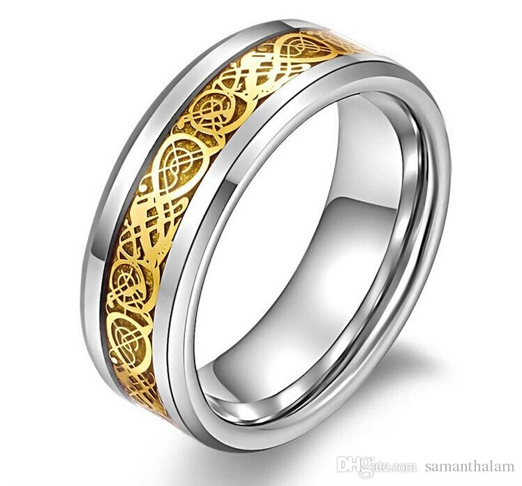 Valentine's Day Vintage Chinese Dragon Tungsten steel 18k Golden plated Ring for Men lord Wedding Titanium rings Band new punk ring jewelry