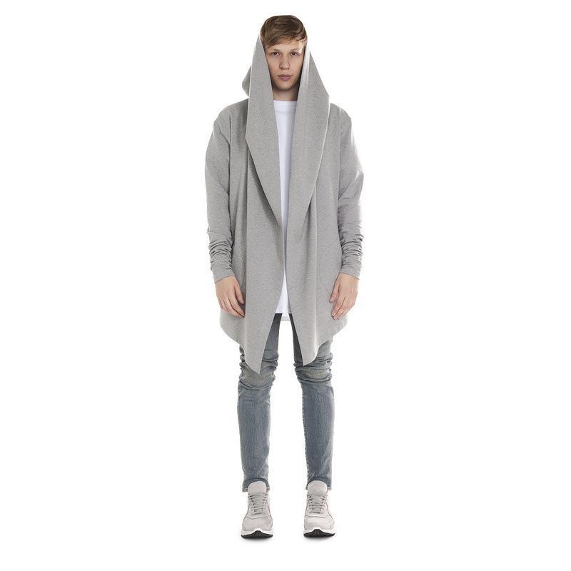 Toptan-2016 Erkekler Uzun Hırka Streetwear Kentsel Kapüşonlular Hip Hop Kaşmir Palto Casual Örme Cloaks Erkek Cape kapüşonlu Erkekler Kapşonlu Cloak
