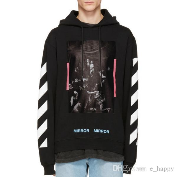 30548ef4 Off White Hoodie Unisex Oversized Hood Sweatshirt Diagonal Caravaggio  Printed Skateboards Hoodies Men Women Street Club Hoodie PXG0747