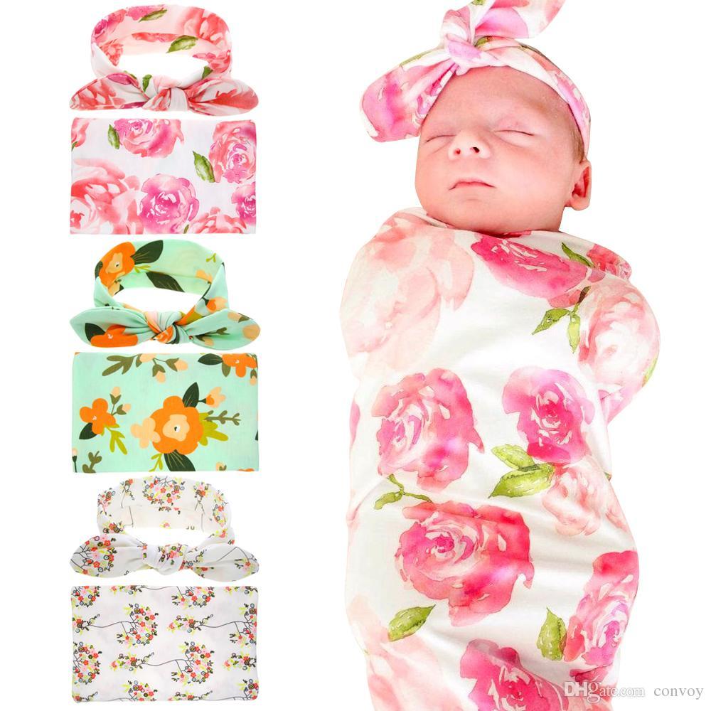 Mantas Swaddling del bebé recién nacido con el oído del conejito Bandas del bebé Swaddle floral del abrigo de la manta Hairbands Bebé paño del abrigo del algodón fijado BHB11