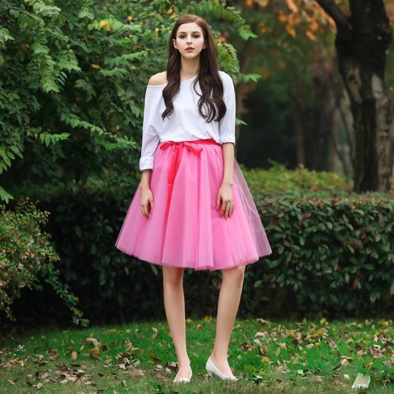 Short Custom Made Tutu Skirts With Ribbon Sashes New 2017 Knee Length Puffy Women Skirt Girls Beautiful Cheap Party Dress Free Shipping