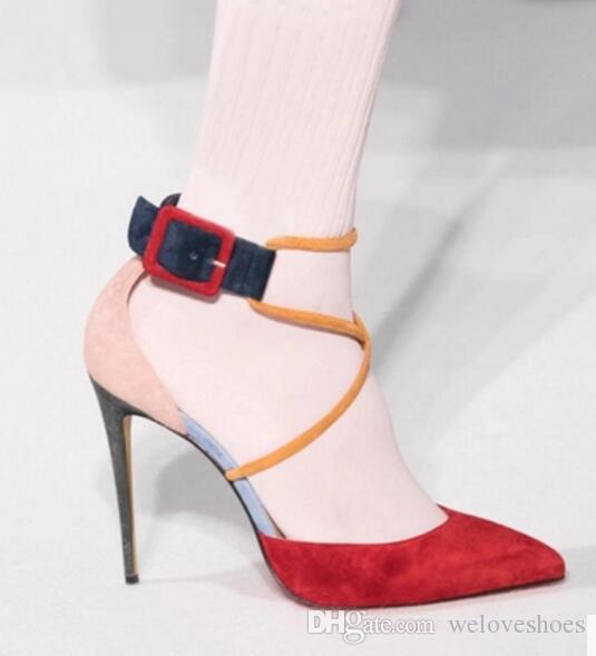 새로운 패션은 정장 구두 2020 혼합 색상 펌프 여성 뾰족한 발가락 파티 신발 발목 스트랩과 큰 나비 매듭 우아한 얕은 펌프