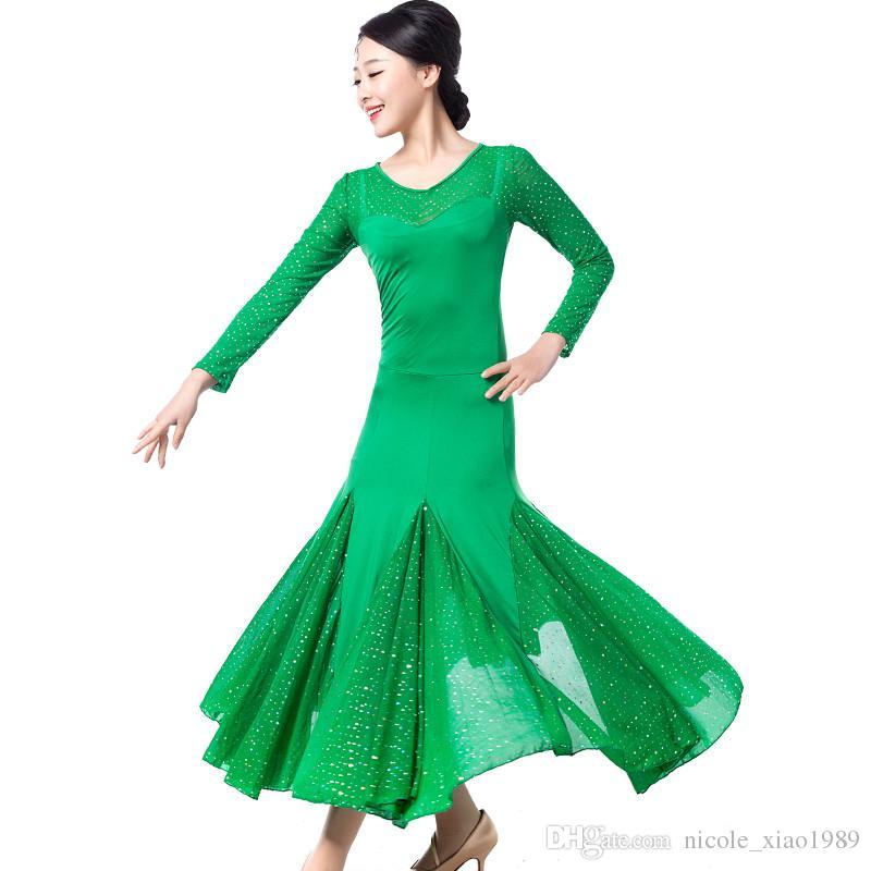 5 Color 2017 NEUE moderne tanzkleid frauen Pailletten Waltz Tango Foxtrot quickstep kostüm wettbewerb kleidung standard ballroom dance rock
