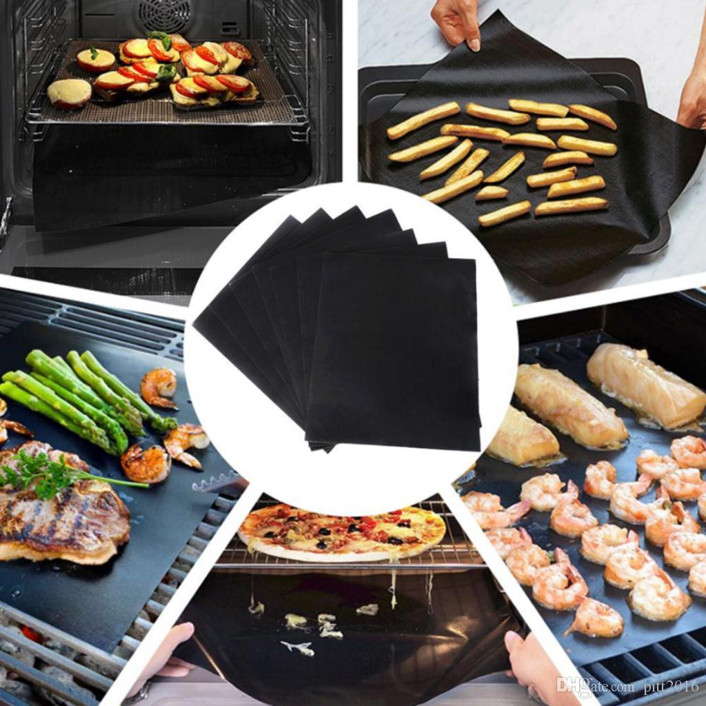 black PTFE BBQ grill mats BBQ tool easy to clean Heat Resistance Reusable Washable Plate PTFE Coated Telflon Mats