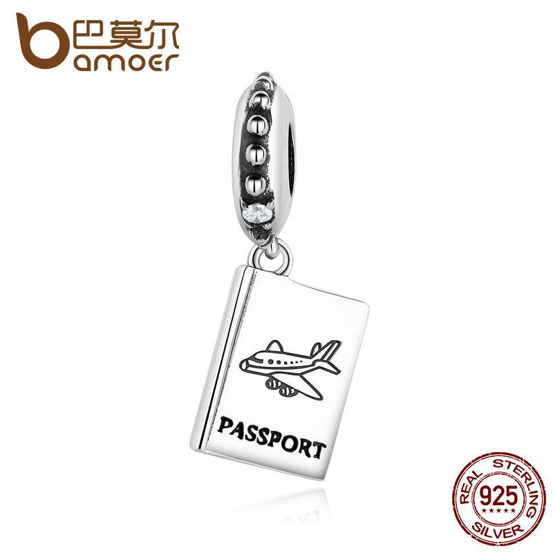 All'ingrosso Pandora 925 Sterling Silver Passport Airplane Airplane Fit Bracciale Bracciale da viaggio perline
