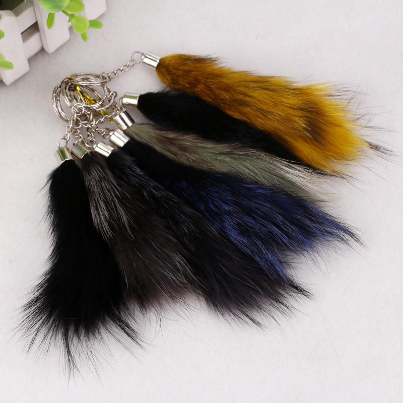 New silver buckle Plush tail key buckle lady car bag pendant mixed color wholesale imitation wool key buckle
