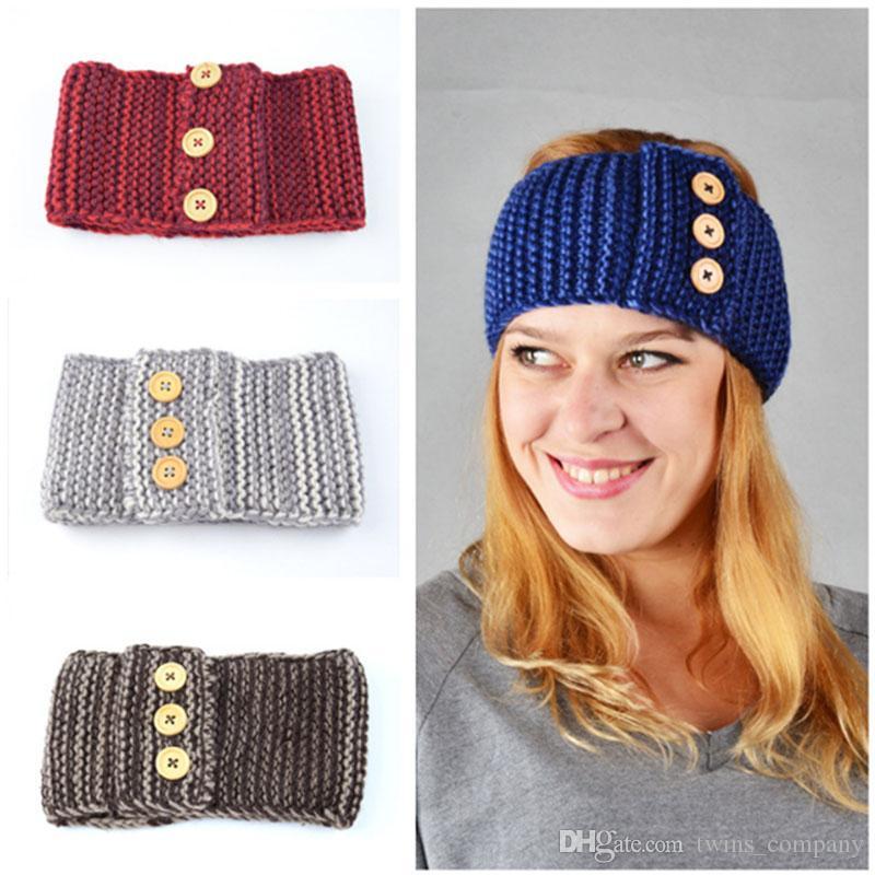 Knitted Wool Headbands European Winter New Hot Girls Warm Hairband Women Headband Three Button Hair Accessories