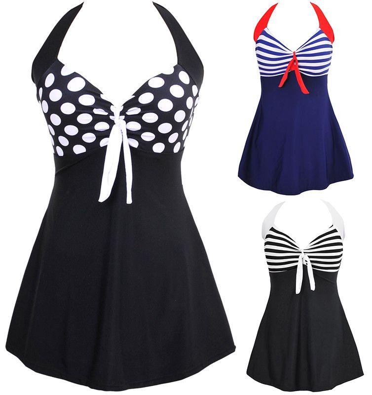 10984465e1f71 New Sexy Stripe Padded Halter Skirt Swimwear Women One Piece Swimsuit  Beachwear Swim dress Plus size M~4XL