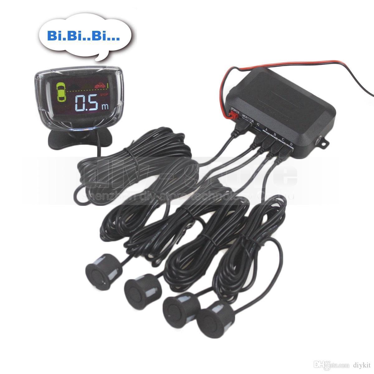Araba Park Radar Arka Görünüm Ters Tampon 4 Sensörler Siyah Gümüş Beyaz LCD Alarm Dikiz Sistemi Kiti