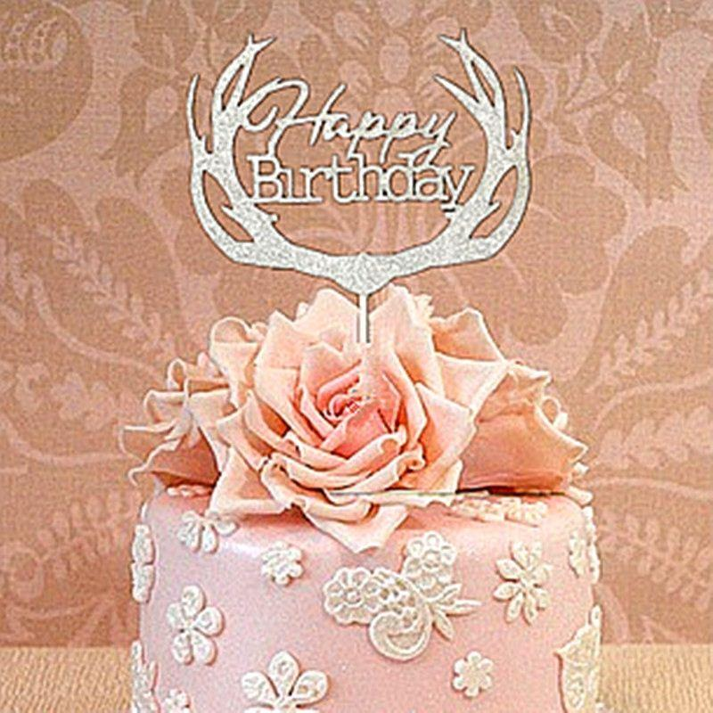Superb Golden Deer Dessert Table Decoration Inserted Card Happy Birthday Birthday Cards Printable Inklcafe Filternl