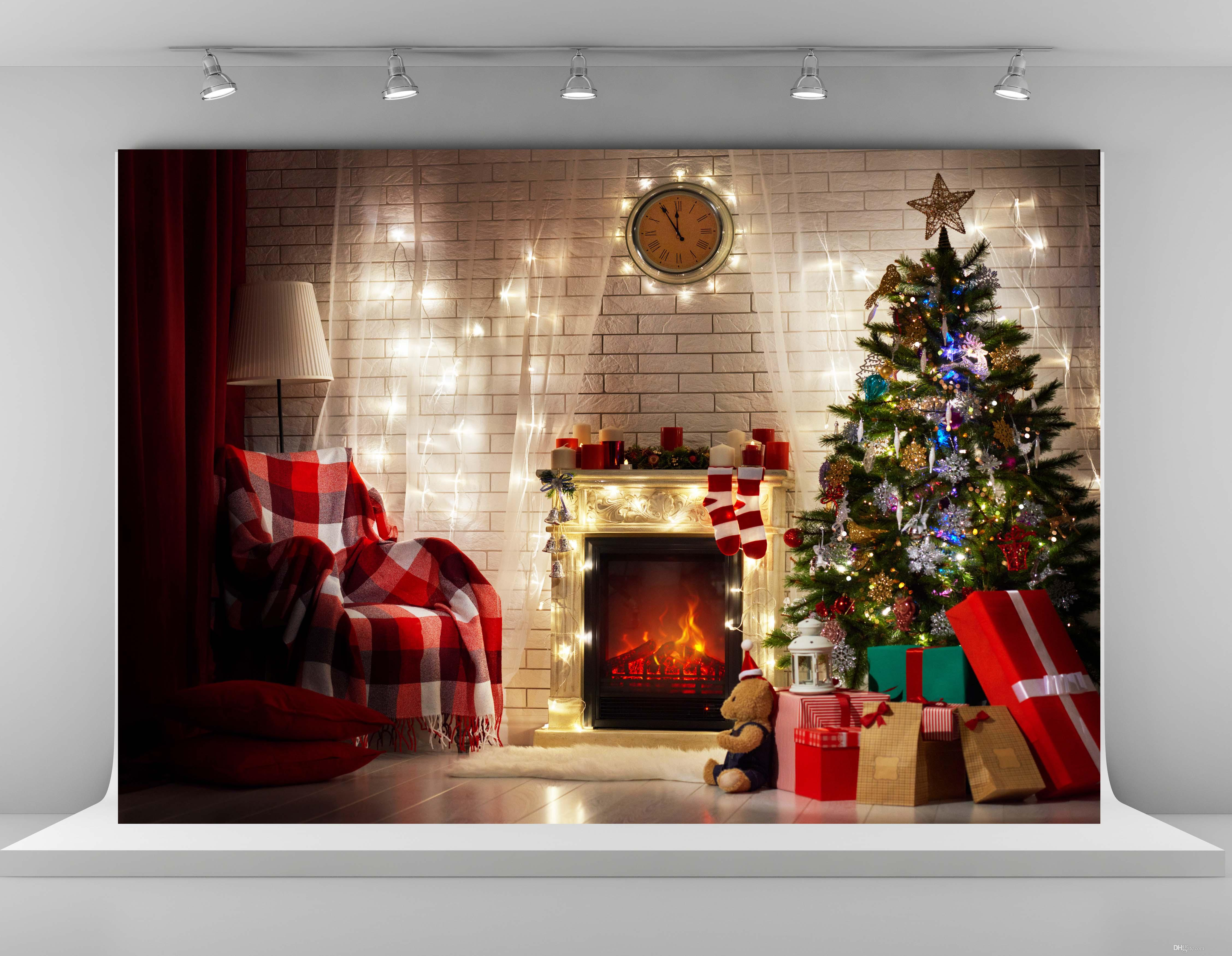 Christmas Tree Background.2019 Christmas Photography Backdrops Indoor Christmas Tree Background Photo 7x5ft Fireplace Backdrop Props For Children From Fanny08 24 73