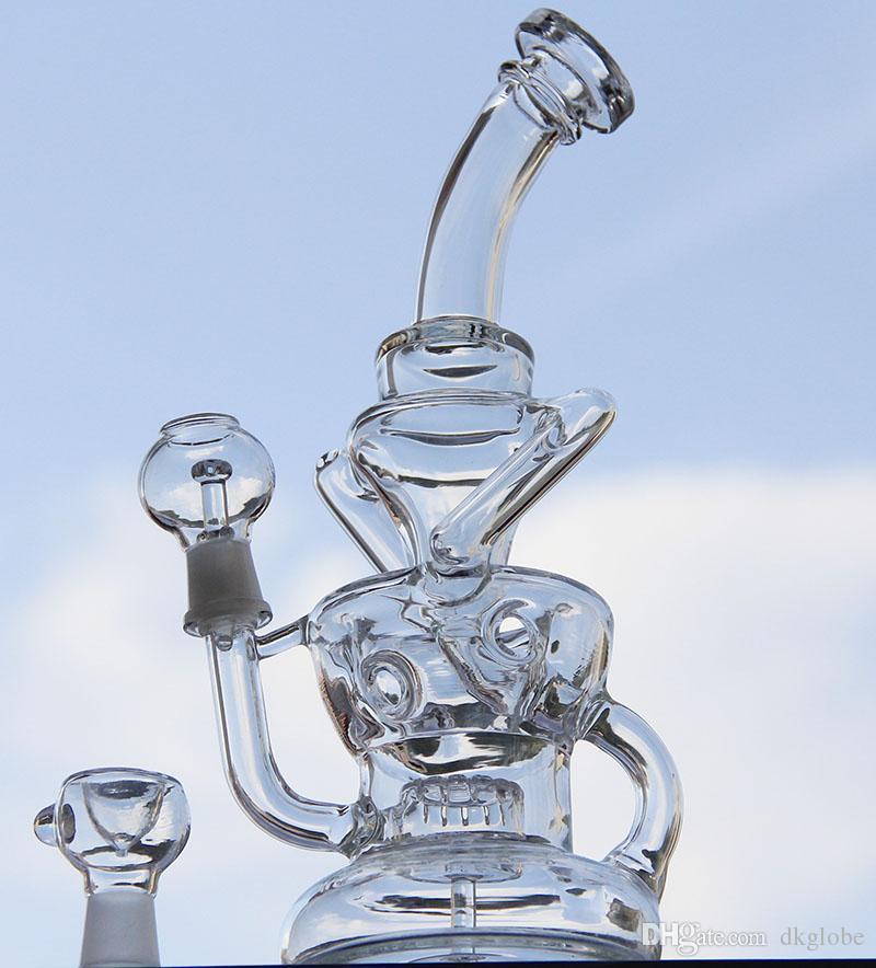 """Yeni çift recycler bong 10 """"inç İki fonksiyonları su borusu sıcak satmak petrol sondaj cam boru"""