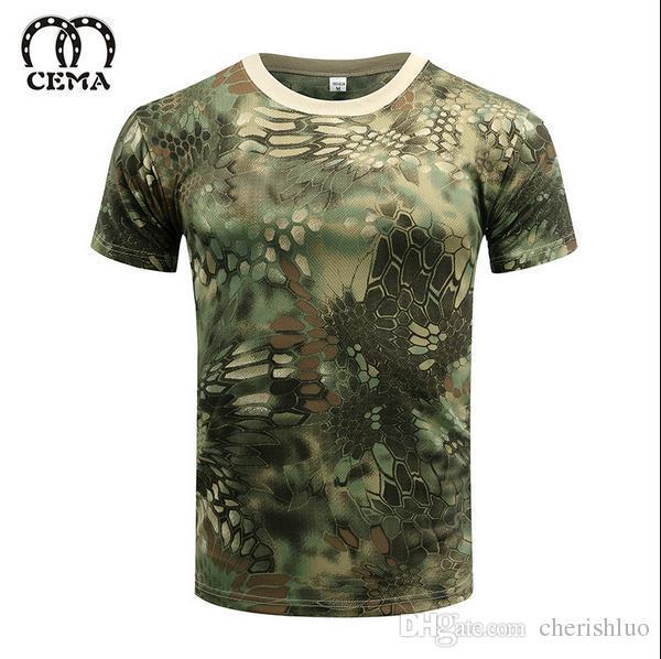 Горячая 2017 открытый летний военный камуфляж сушилка кожи сетки футболка мужчины / женщины Militar тактический отдых туризм с коротким рукавом тройники