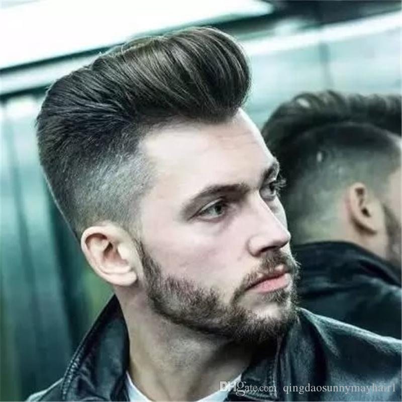Natural toupee for men 6x8 inch short black hair man's toupee swiss lace PU thin skin hair replacement full lace human hair wigs