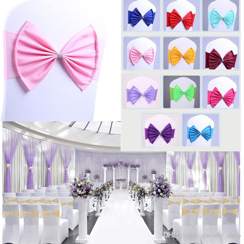Spandex Lycra Chair Sashes Elastic Satin Chair Bands with Buckle for Wedding Chair Cover Sashes Bows Wholesale