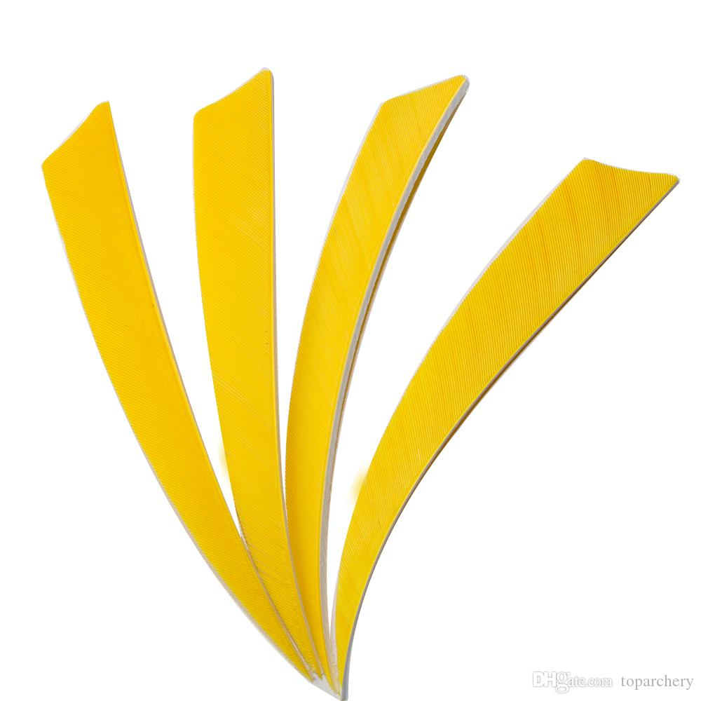 50pcs 5'' Left Wing Feathers for Glass Fiber Bamboo Wood Archery Arrows Hunting and Shooting Shield Yellow Fletching
