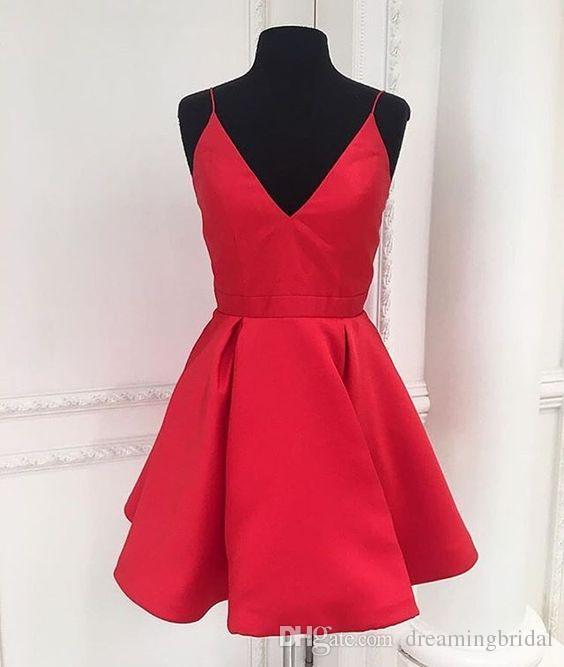 Дешевые бордовый короткие платья возвращения на родину прекрасный плечевой ремень скромный коктейль платье темный V-образным вырезом 8-го класса платья выпускного вечера