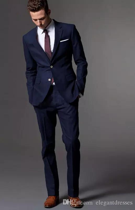 Custom Made Dark Blue Men Suit Tailor Made Suit Bespoke Light Azul marino Trajes de boda para hombre Slim Fit Groom Tuxedos para hombre