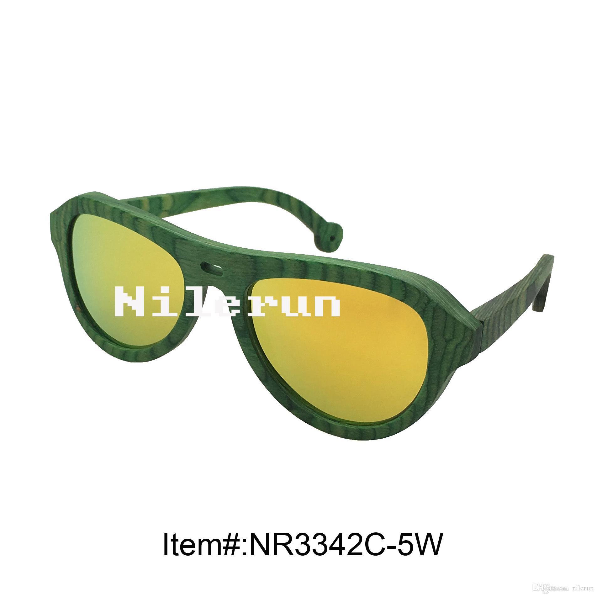 Lenti polarizzate gialle di lusso di alta qualità di lusso verdi occhiali da sole di legno ingegnerizzati verdi