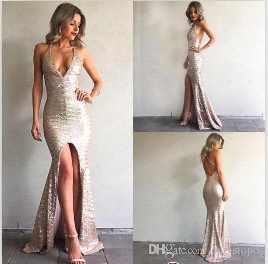 Sequined Mermaid Prom Dresses Sexy Deep V-neck Front Split Backless Evening Gowns Custom Made Celebrity Party Dress 2017 BA6840