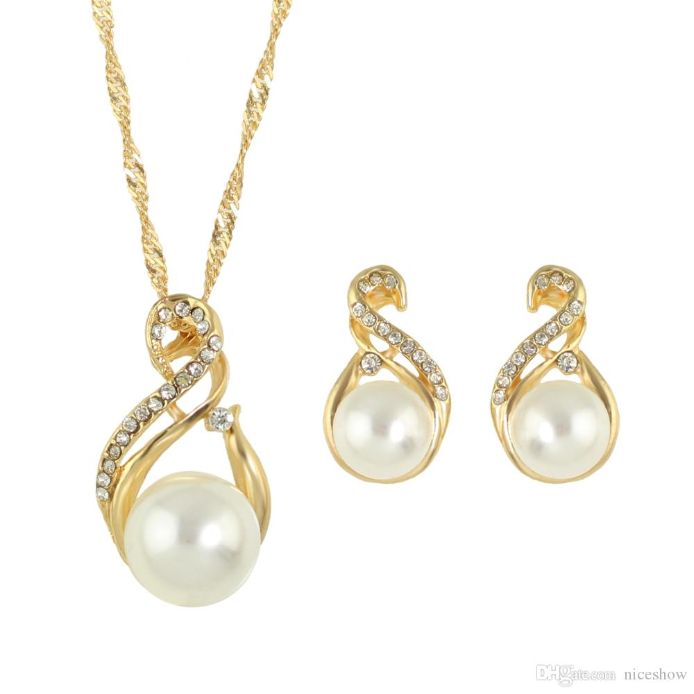 Latest Design Jewelry Gold Silver Plated Imitation Pearl Pendant Necklace  And Pearl Earrings Stud Wedding Jewelry